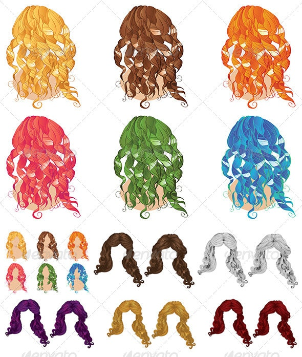 Curly Hair Styles - Miscellaneous Vectors