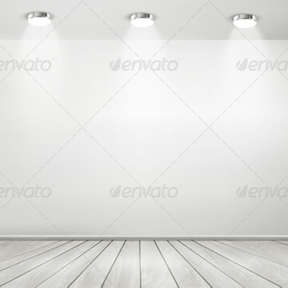 Grey Room Spotlights and Wooden Floor