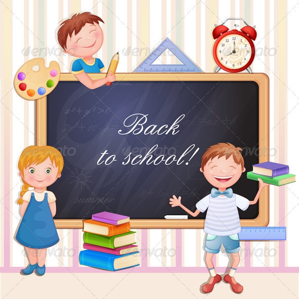 Back to School Illustration with Happy Kids - People Characters