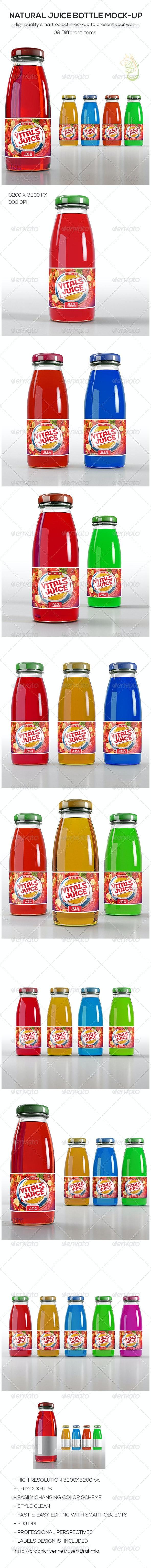 Natural Juice Bottle Mock-Up - Food and Drink Packaging