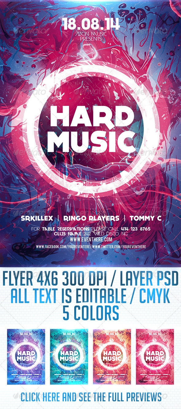 Hard Music Flyer Template - Clubs & Parties Events