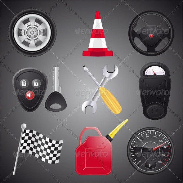 Set of Automobile Objects,Vector - Objects Vectors