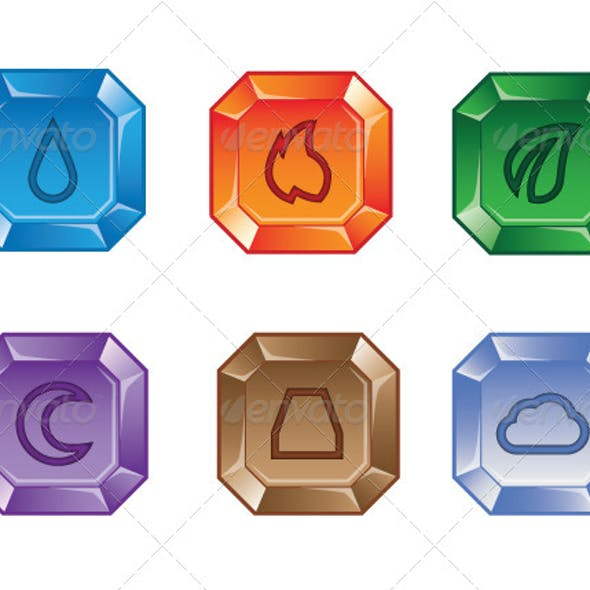 Set of Elemental Gems 2 for Match 3 Puzzle Game