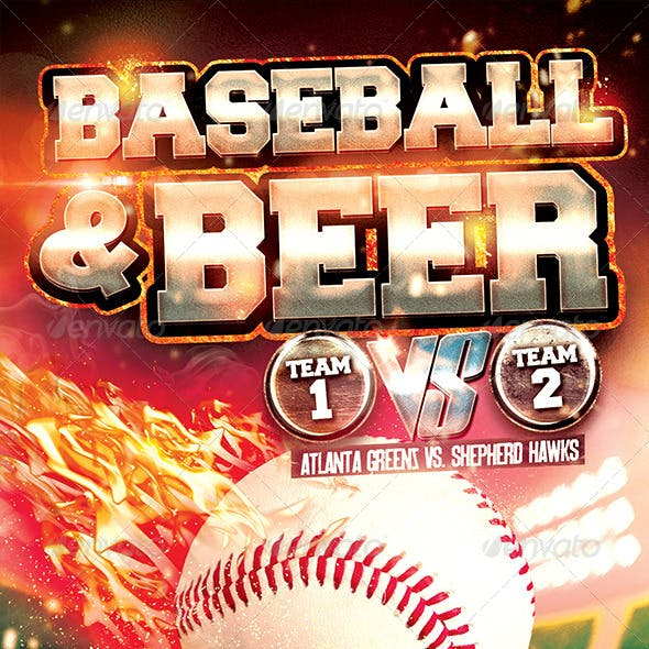 Baseball & Beer Flyer Template PSD