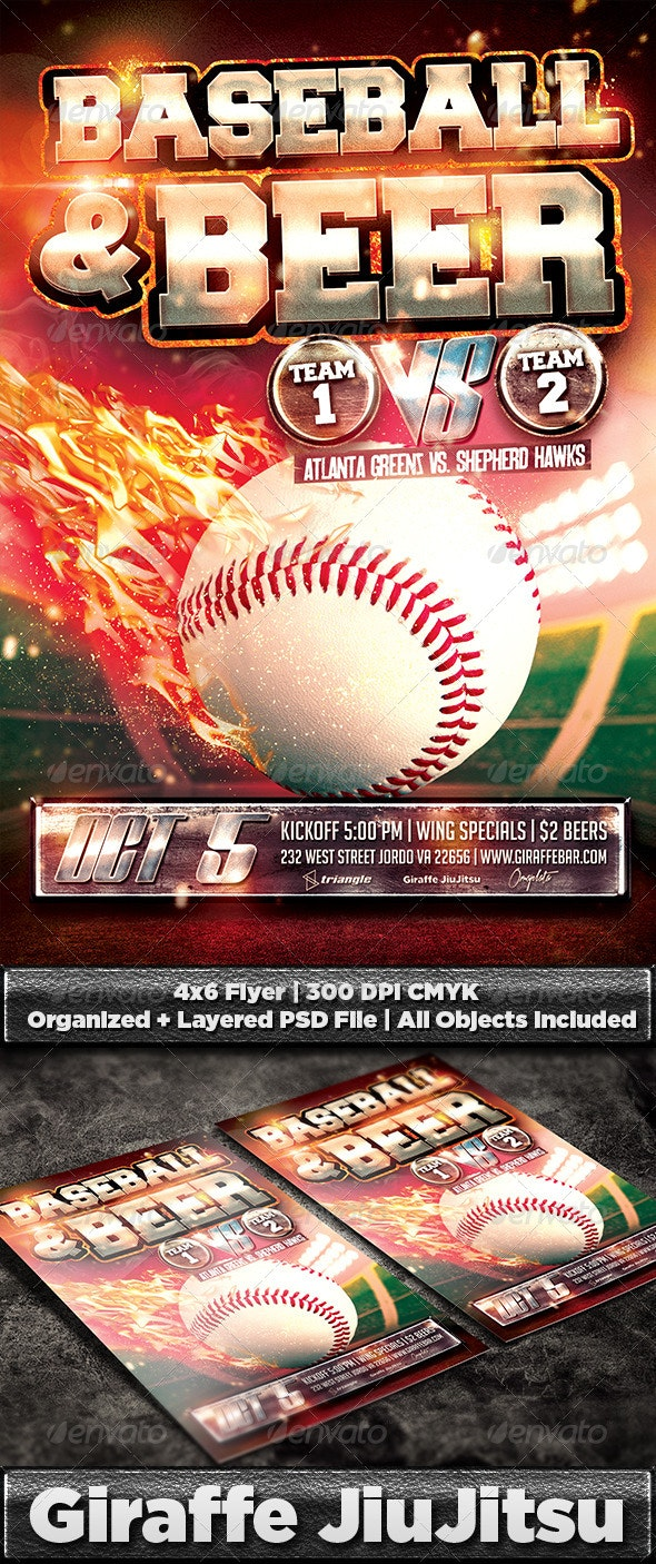 Baseball & Beer Flyer Template PSD - Sports Events