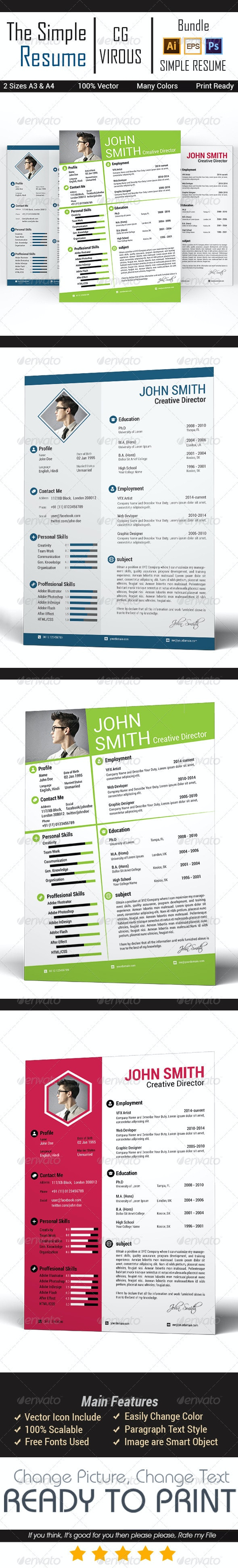 Simple CV/Resume Bundle - Resumes Stationery
