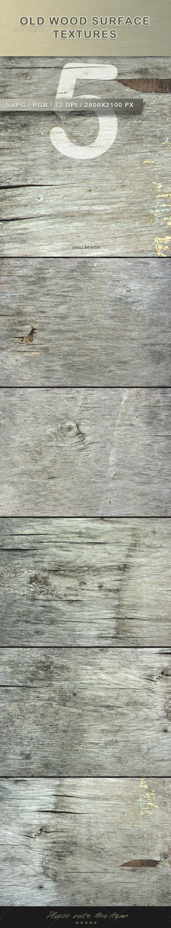 5 Old Wood Surface Textures