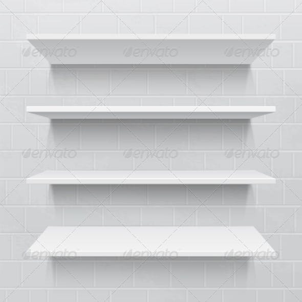 Shelves against Brick Wall