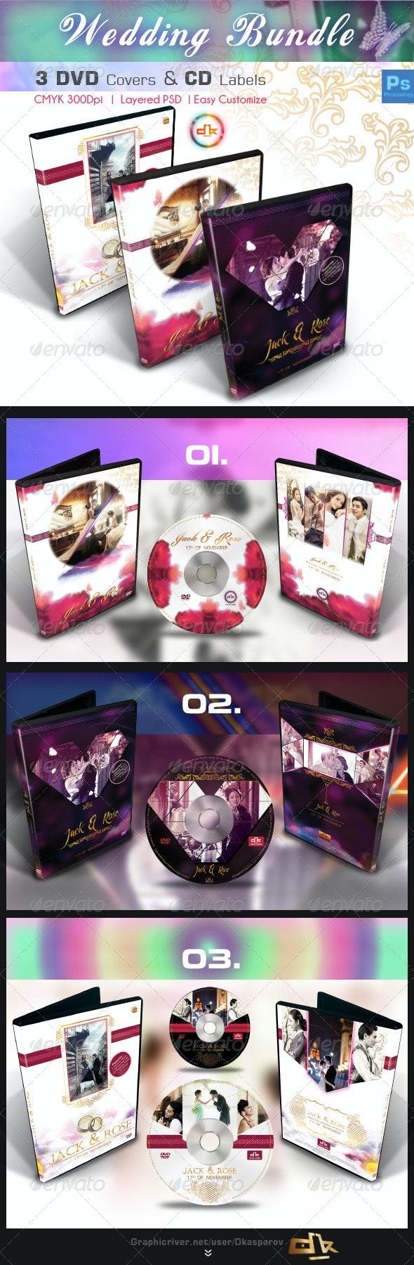 Wedding DVD Cover + Disc Label Bundle Vol1 - CD & DVD Artwork Print Templates