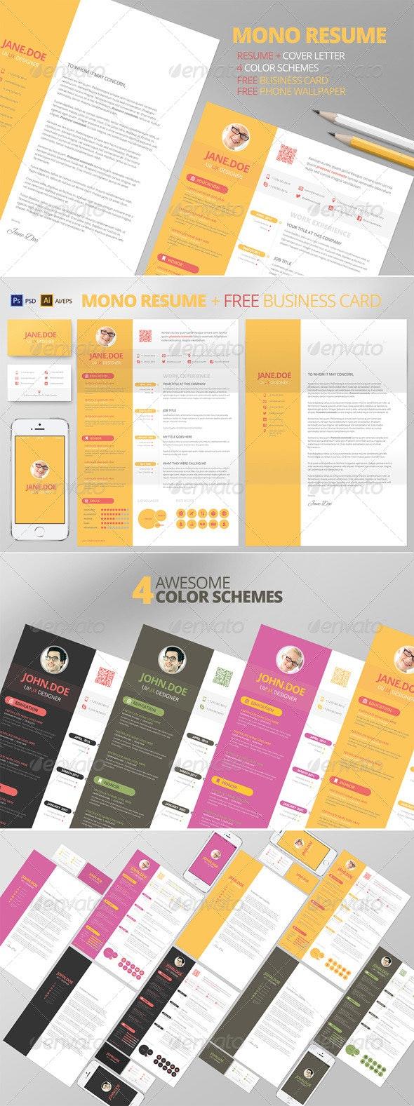 Mono Resume CV + Business Card - Resumes Stationery