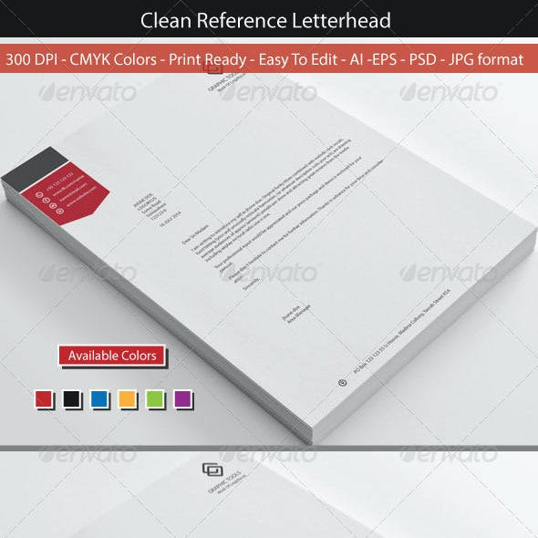Clean Reference Letterhead Design