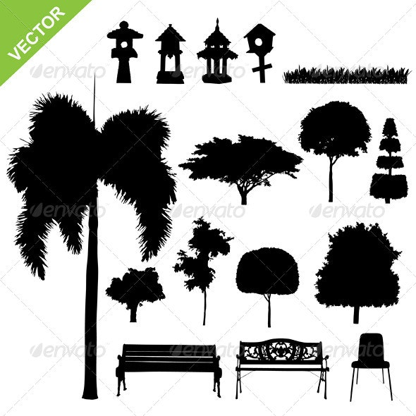 Tree and Garden Silhouette Vector - Flowers & Plants Nature