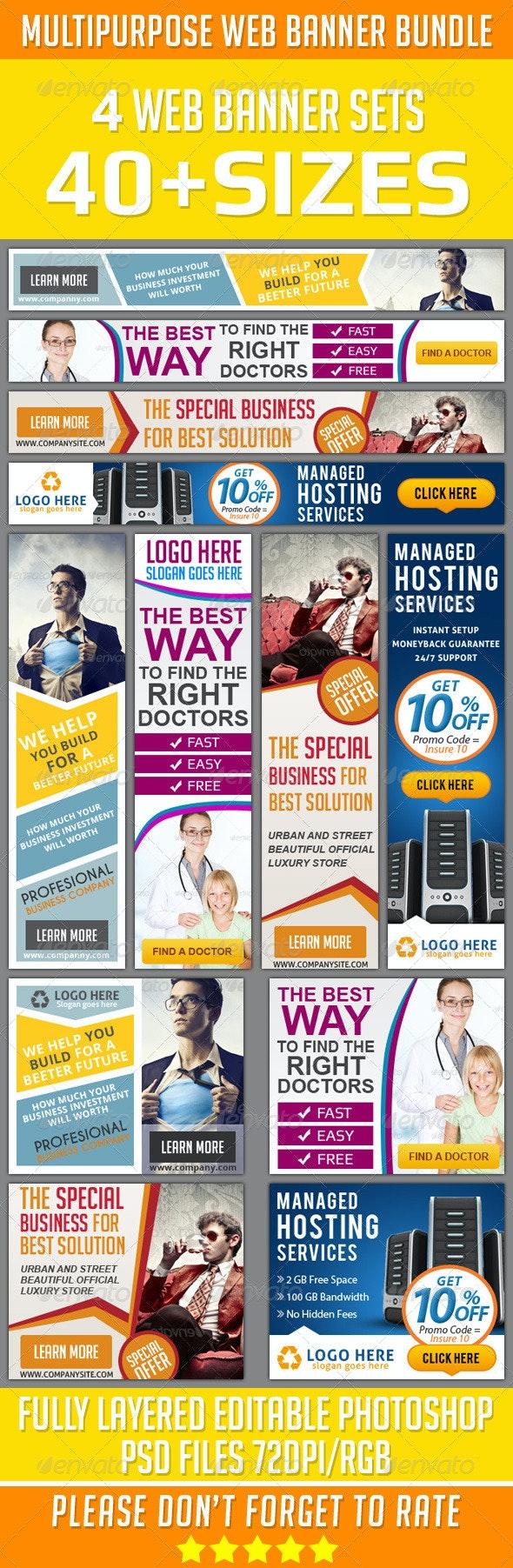 Multipurpose Web Banner Set Bundle - Banners & Ads Web Elements