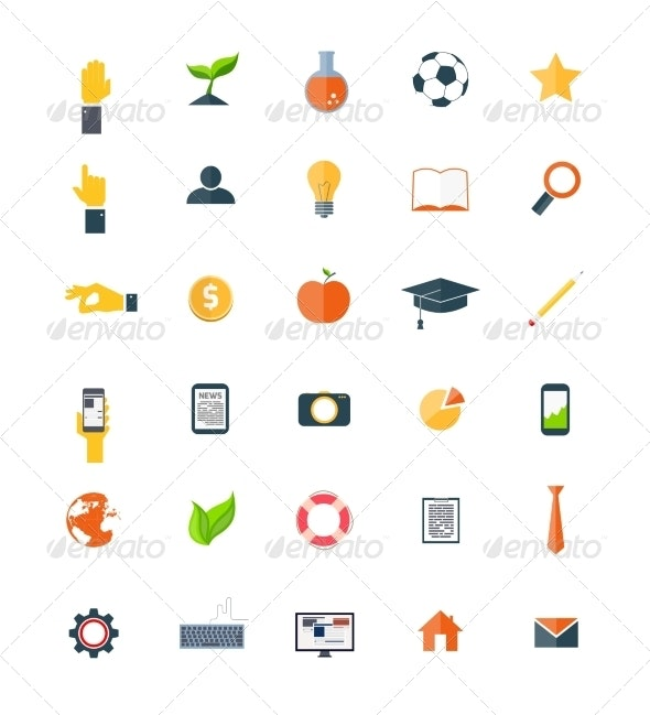 Set of Flat Icons  - Objects Icons