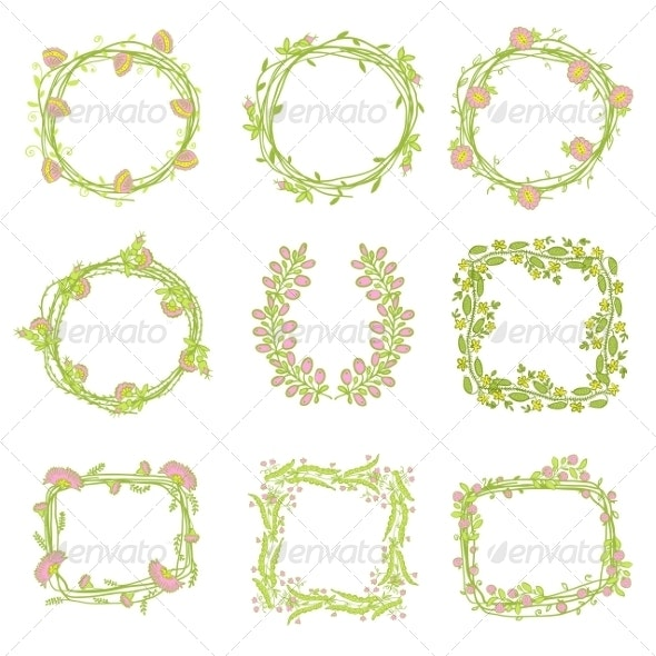 Set of Floral Graphic Design Elements - Flourishes / Swirls Decorative