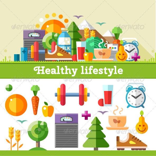 Healthy Lifestyle Flat Illustration - Vectors