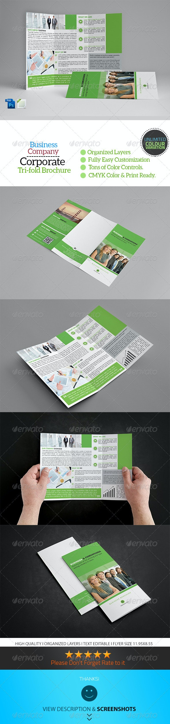 A4 Trifold Business Brochure Template Vol13 - Corporate Brochures