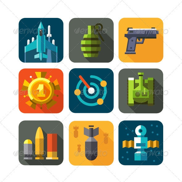 Game War Strategy Icons - Objects Vectors