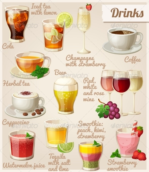 Set of Food and Drink Icons - Food Objects