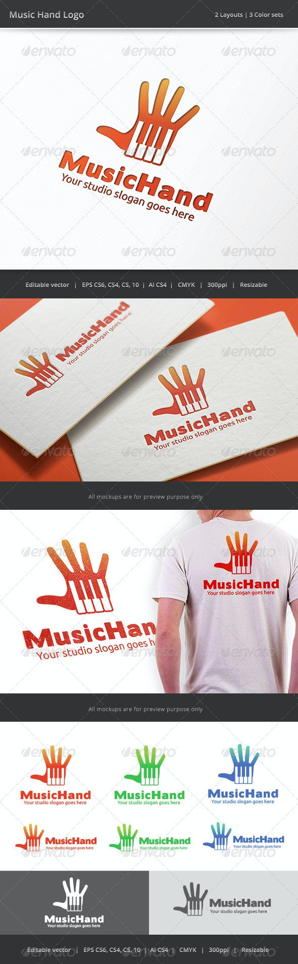 Music Hand - Objects Logo Templates