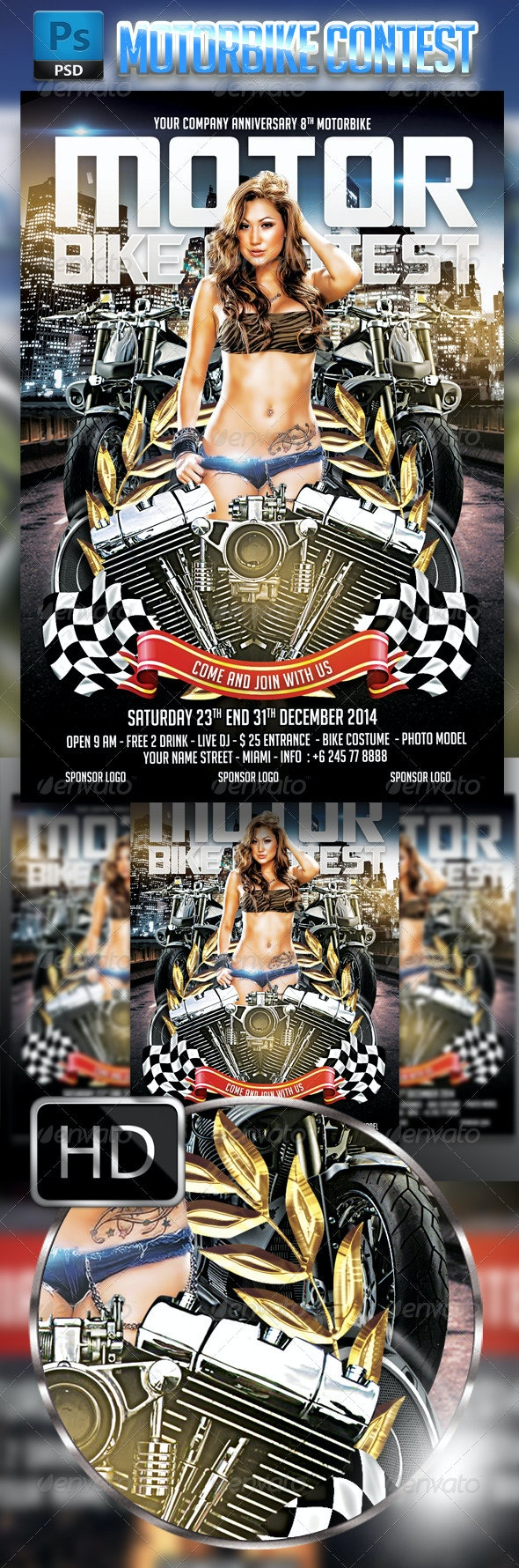 motorbike Contest Flyer Template  - Events Flyers