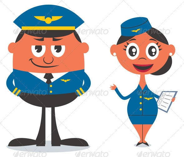Pilot and Air Hostess - People Characters