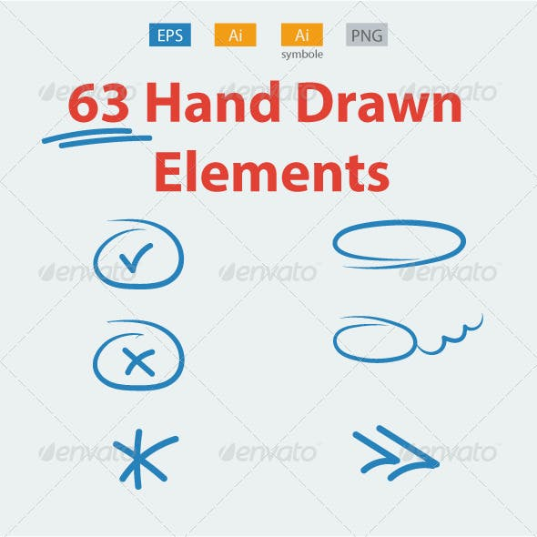 63 Hand Drawn Elements