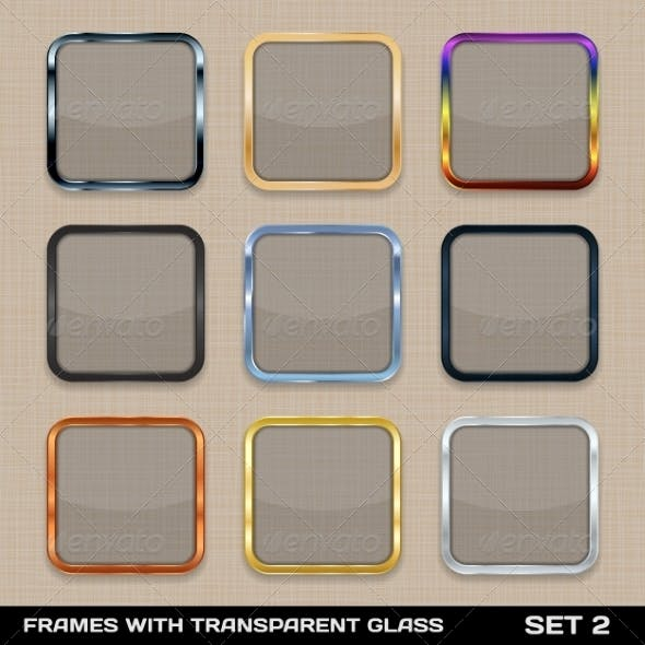 Set of Colorful App Icon Frame Templates