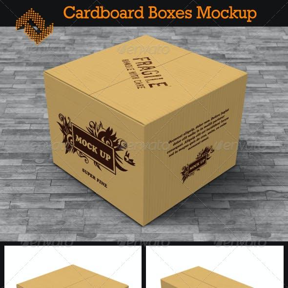 6 Cardboard Boxes Mockup