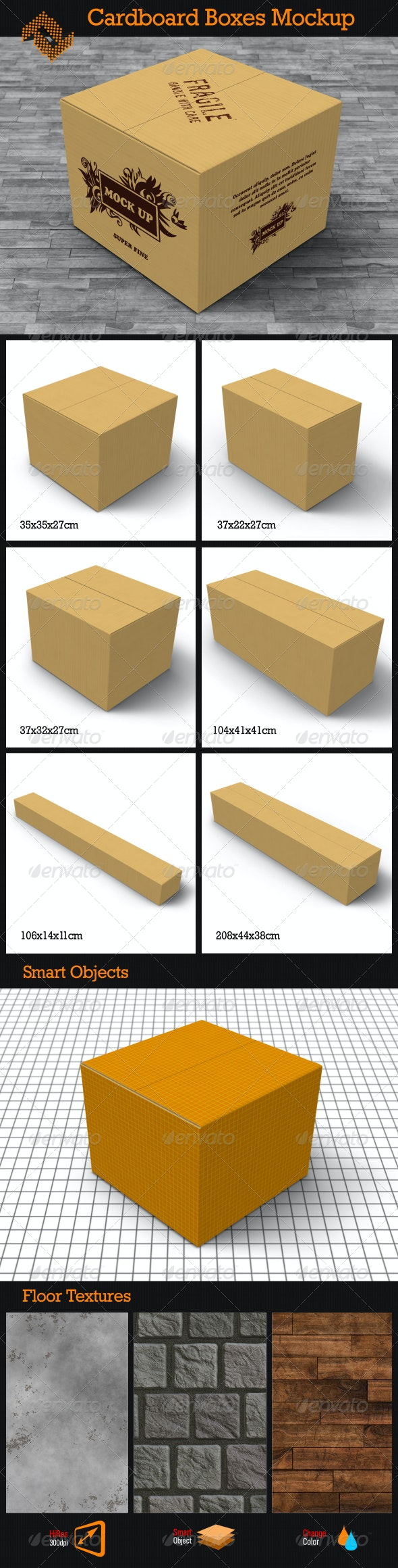 6 Cardboard Boxes Mockup - Packaging Product Mock-Ups