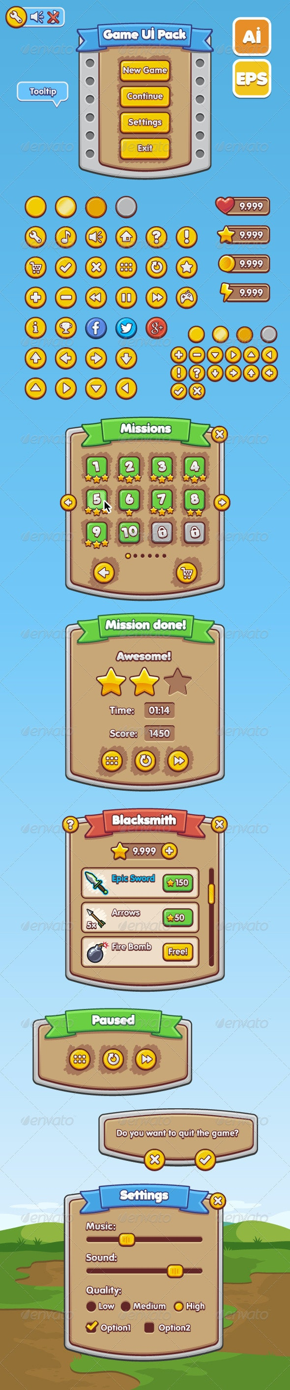 Game UI Pack - Web Elements Vectors