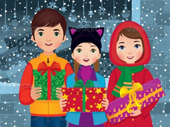 Children Enjoying Christmas - Christmas Seasons/Holidays