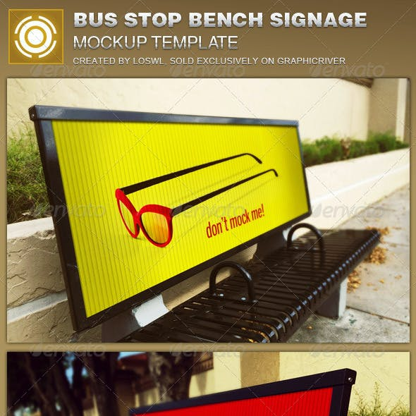 Corrugated Bus Stop Bench Signage Mockup Template