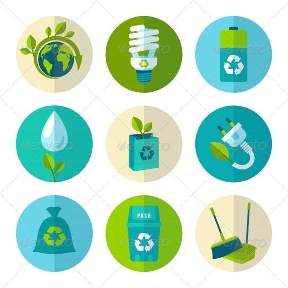 Ecology and Waste Flat Icons Set