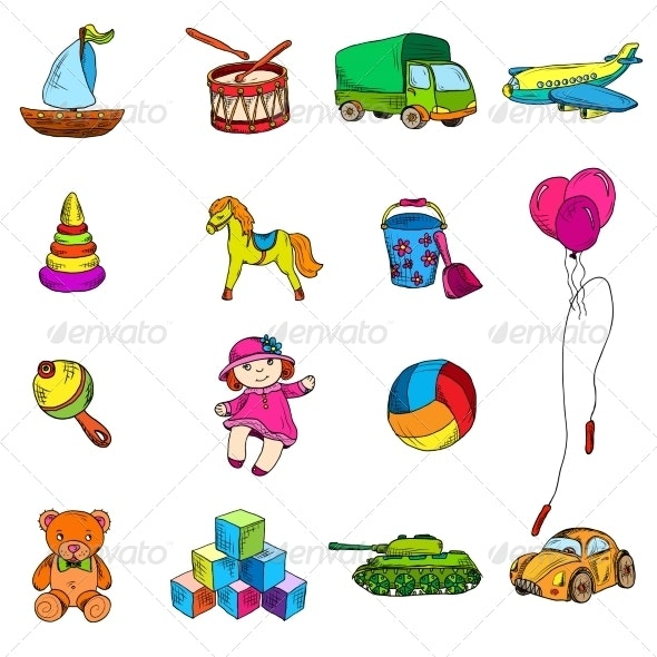 Toys Sketch Icons Set - Decorative Symbols Decorative