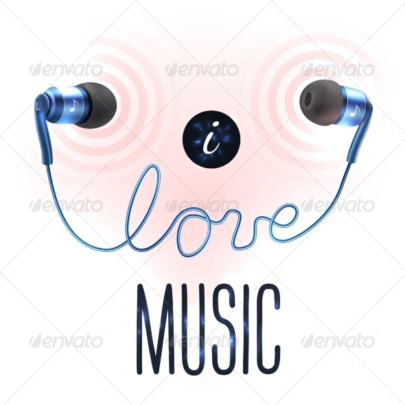 Headphones with Love Letters - Miscellaneous Vectors