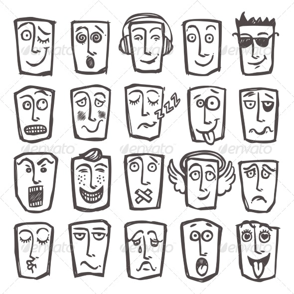 Sketch Emoticons Set - Web Elements Vectors