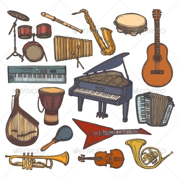 Musical Instruments Sketch Icon - Web Elements Vectors