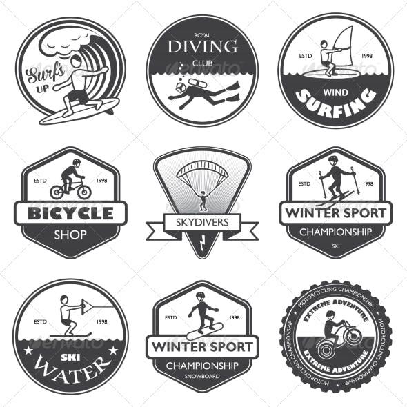 Extreme Sports Labels Set