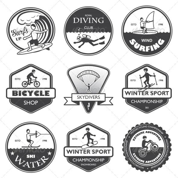 Extreme Sports Labels Set - Sports/Activity Conceptual