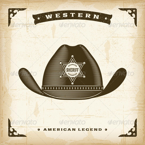 Vintage Western Sheriff Hat - Man-made Objects Objects
