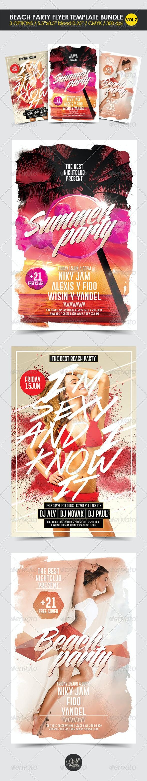 Beach Party Flyer Template Bundle Vol. 7 - Clubs & Parties Events