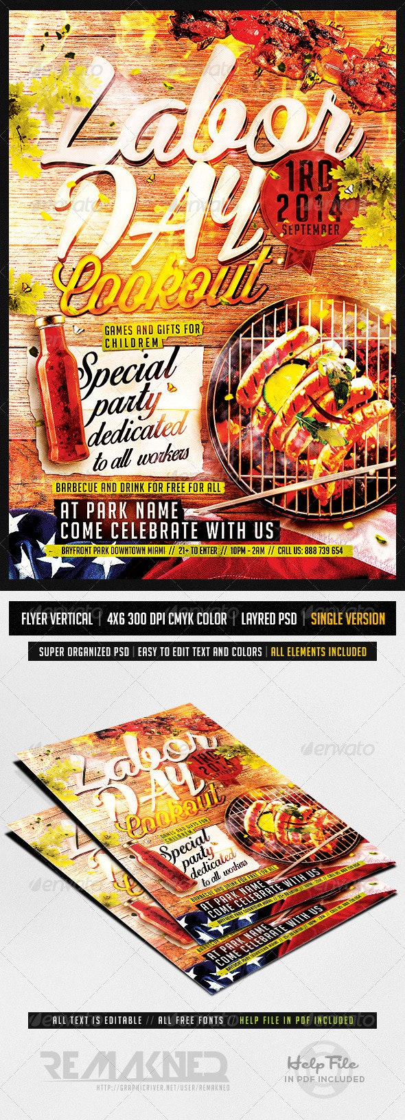 Labor Day Cookout | Flyer Template PSD - Events Flyers