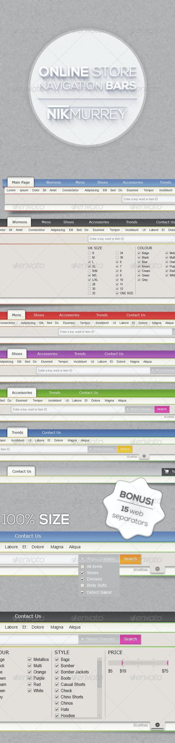 Online Store Navigation Bars - Navigation Bars Web Elements