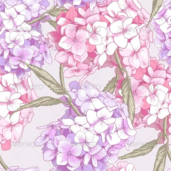 Pink Hydrangea Seamless Background - Patterns Decorative