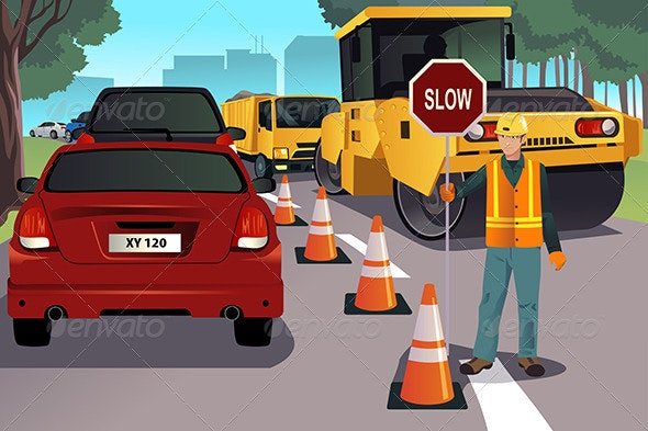 Flagger Working on Road Construction - People Characters