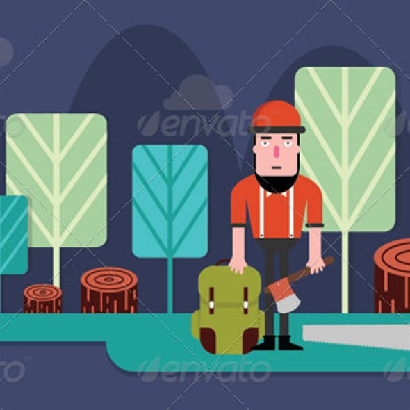Timberman in Forest