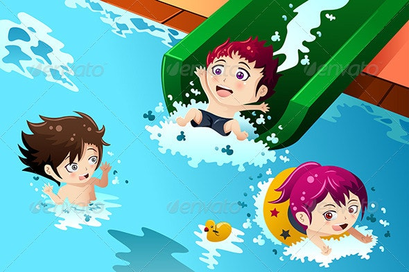 Kids Having Fun in the Swimming Pool - Sports/Activity Conceptual
