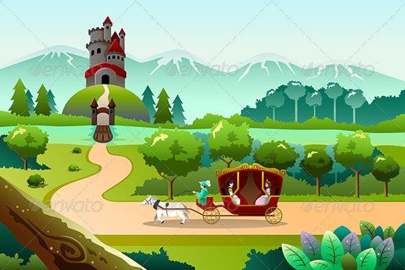 Prince and Princess Riding a Wagon - Characters Vectors