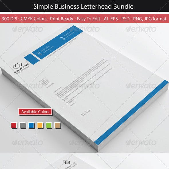 Clean Simple Business Letterhead Bundle